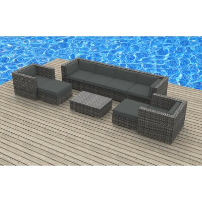 Karla 9 Piece Sectional Set with Cushions Fabric: Charcoal