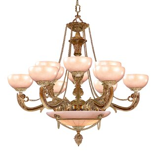 Crystorama Bravado Alabaster 15-Light Shaded Chandelier