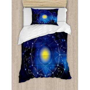 Constellation Collection of Zodiac Signs in a Circle Horoscopes Sun Duvet Set by Ambesonne