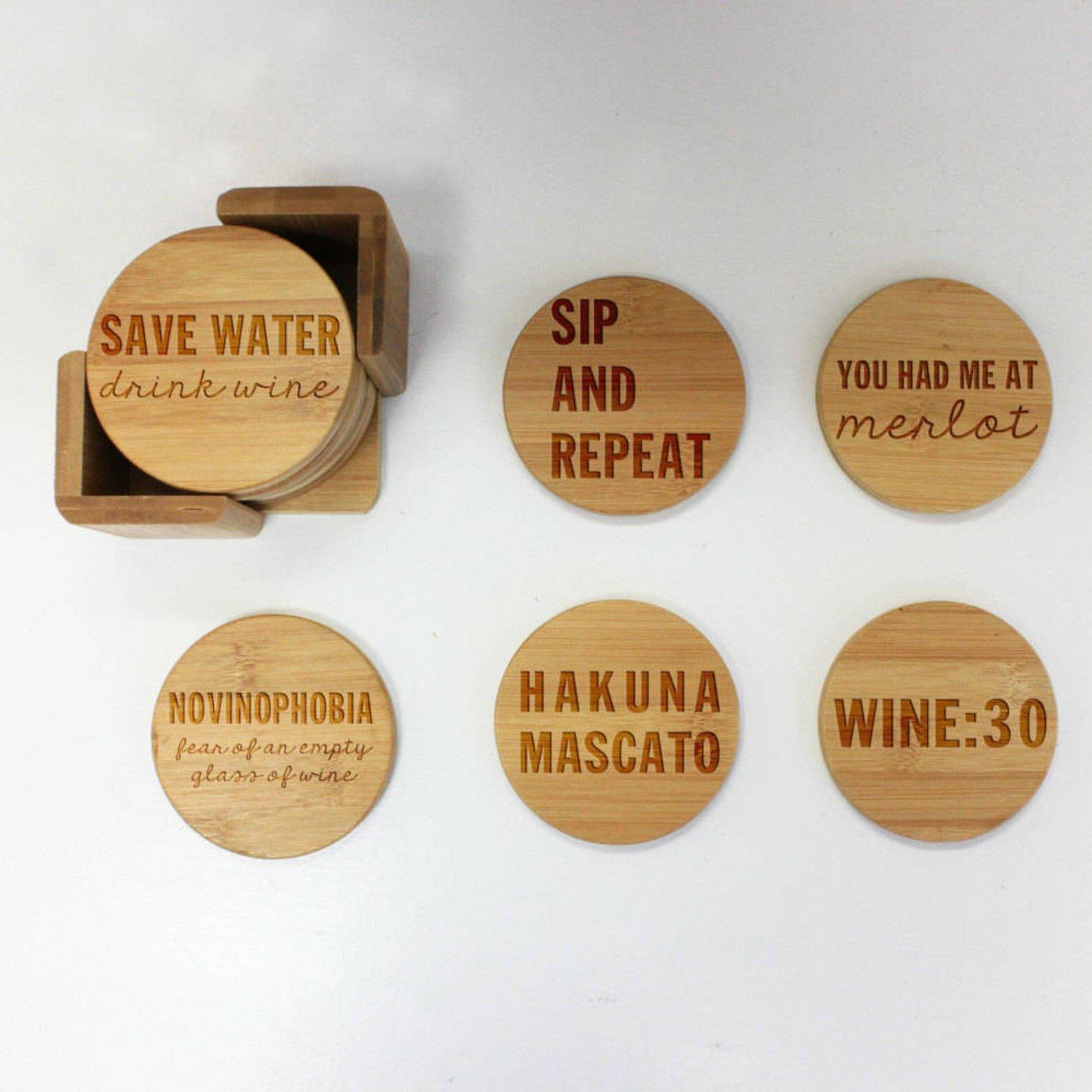 Trinx Custom Engraved Wine Lovers Coaster Set With Holder Wayfair