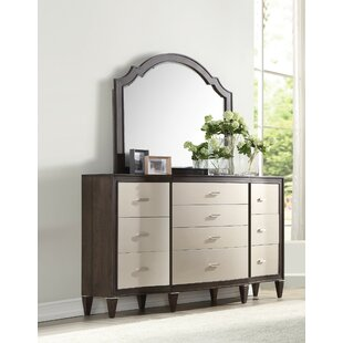 House of Hampton Fuselier 10 Drawer Double Dresser with Mirror
