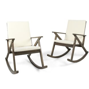 Union Rustic Ossu Outdoor Rocking Chair with Cushions (Set of 2)
