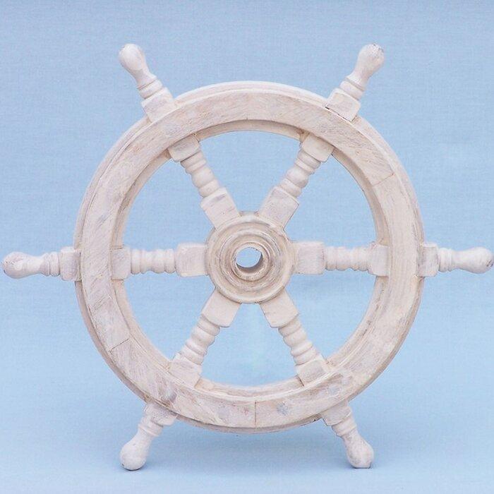 White Wood Ship Wheel Wall Décor