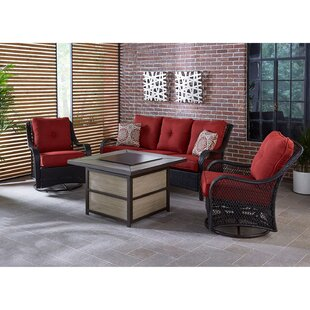 Luisa 4-Piece Outdoor Patio Conversation Fire Pit Coffee Table Set with Autumn Berry Deep-Seating Sofa Swivel Gliders and Liquid Propane Fire Pit by Longshore Tides