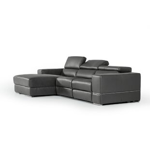 Affordable Galena L-Shaped Leather Reclining Sectional by Wade Logan Reviews (2019) & Buyer's Guide