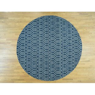 Shop For One-of-a-Kind Isaiah Reversible Handmade Kilim Round 10' Wool Navy/White Area Rug By Isabelline