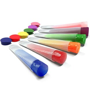 Clear Silicone Ice Pop and Popsicle Mold with Color Tops (Set of 6)