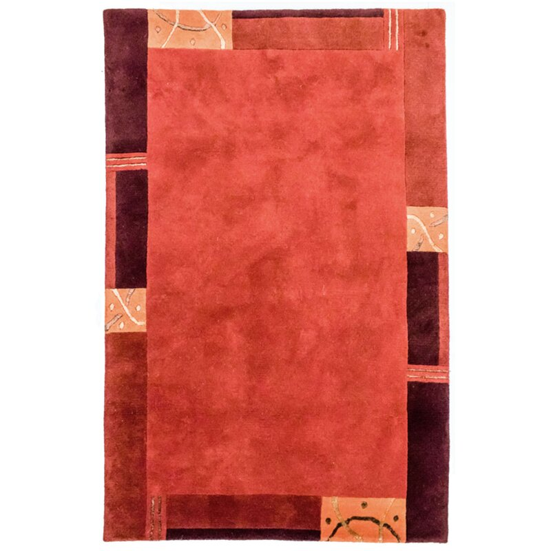 Ebern Designs Clive Hand Hooked Red Rug