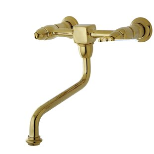 Kingston Brass Heritage Wall Mounted Bathroom Faucet with Drain Assembly
