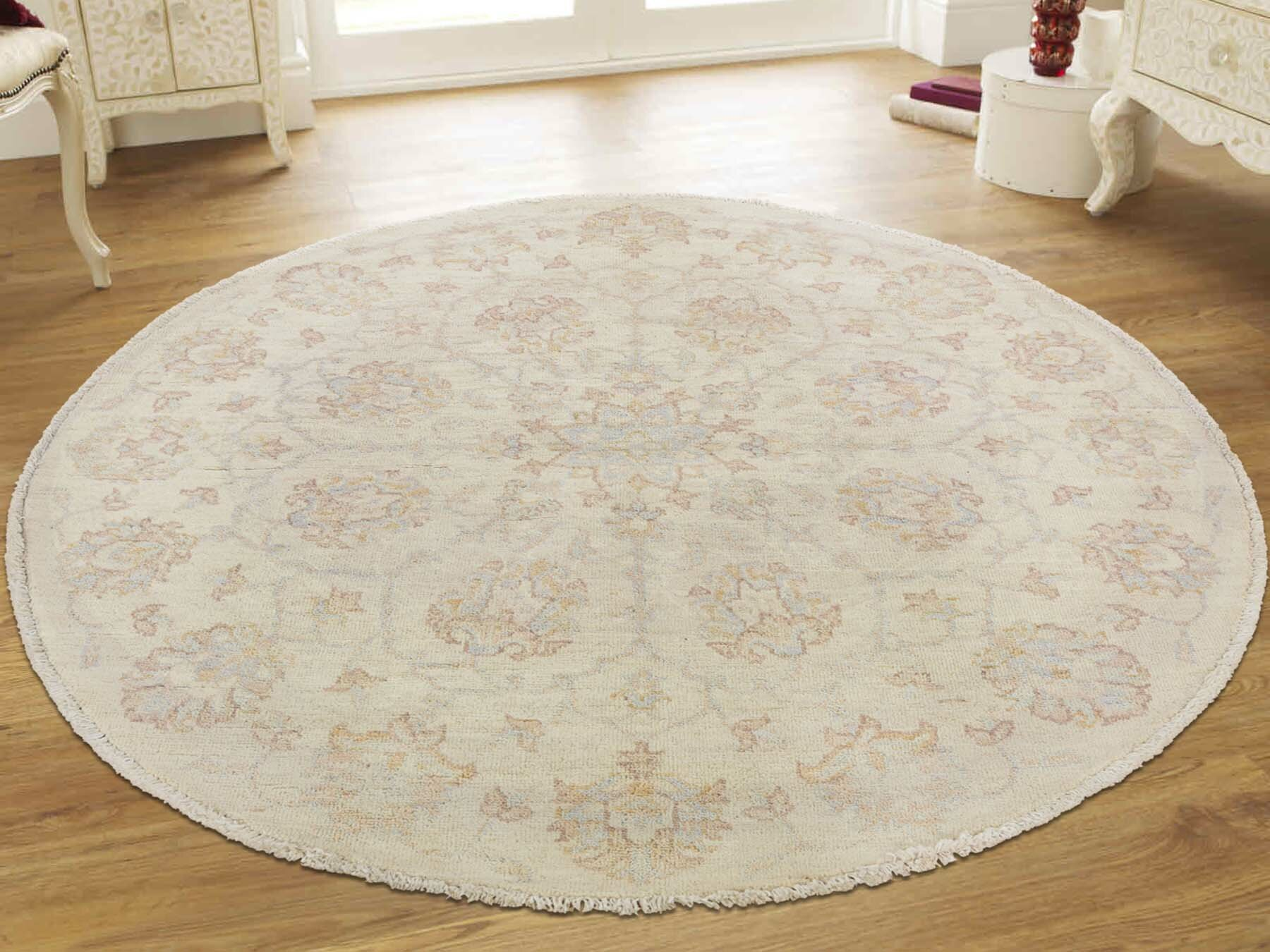 One Of A Kind Beaumont Oriental Hand Knotted Oval 4 2 X 4 3 Wool Ivory Area Rug