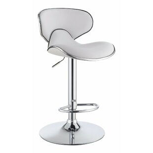 Wroten Scooped Adjustable Height Swivel Bar Stool (Set of 2) Orren Ellis