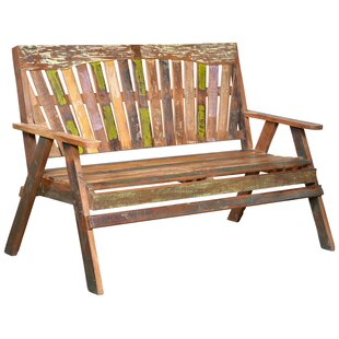 Ulises Wood Slat Back Bench