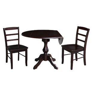 Ashwood Round 3 Piece Drop Leaf Solid Wood Dining Set Alcott Hill