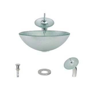 Iridescent Foil Undertone Glass Circular Vessel Bathroom Sink with Faucet by MR Direct