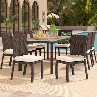 Bayou Breeze Cicero 9 Piece Armless Dining Set with Cushions