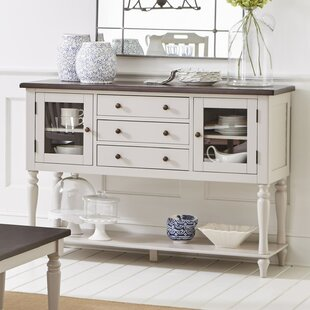 Frannie Wood and Glass Buffet Table