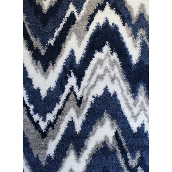 Quarterman Shaggy Zig Zag Gray Navy Blue Area Rug