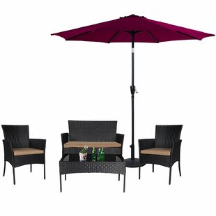 Pakswith 5 Piece Rattan Sofa Seating Group with Cushions