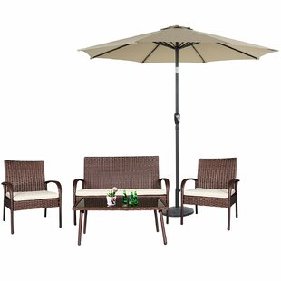 Adalia 5 Piece Rattan Sofa Seating Group with Cushions