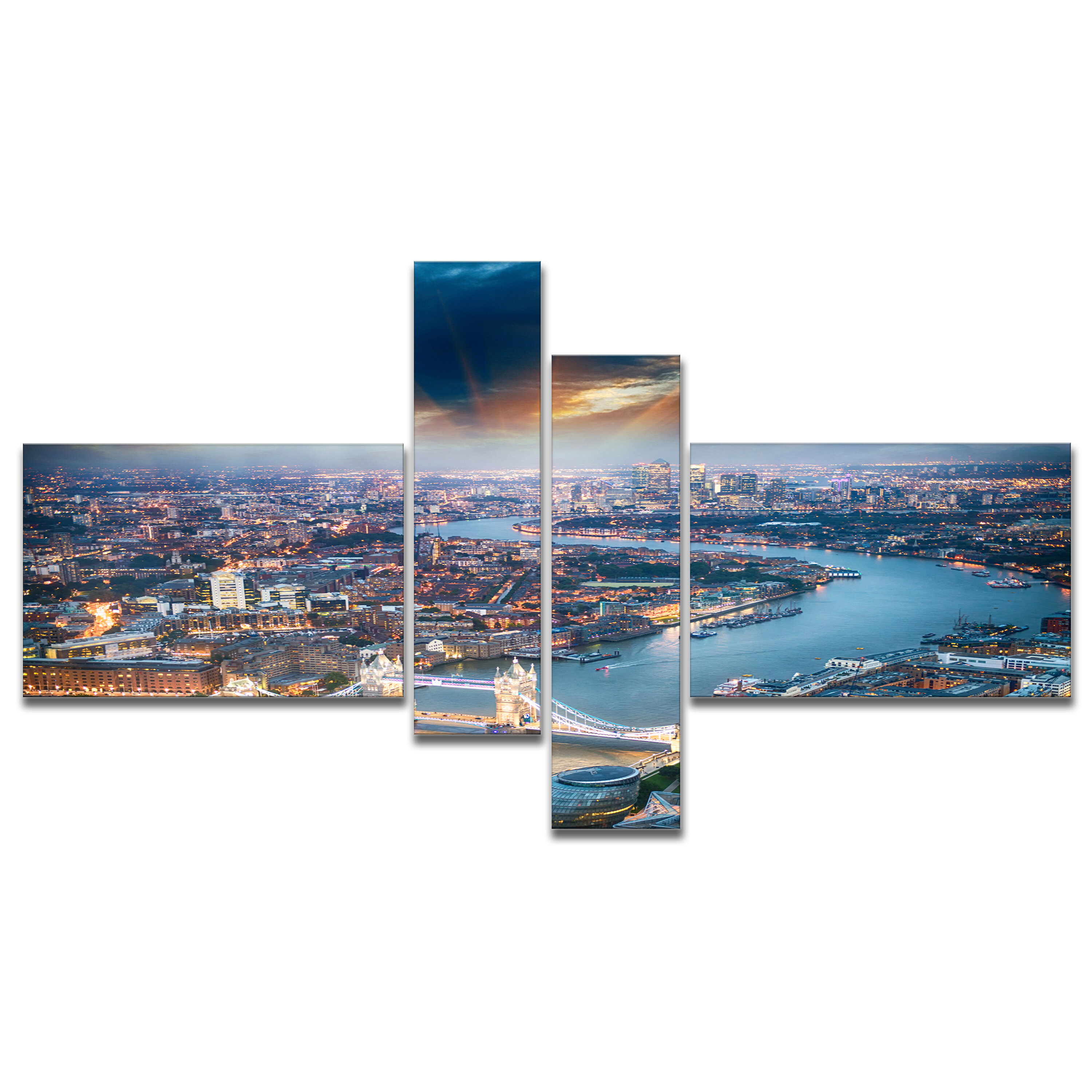 East Urban Home Aerial View Of London At Dusk Photographic Print Multi Piece Image On Canvas Wayfair