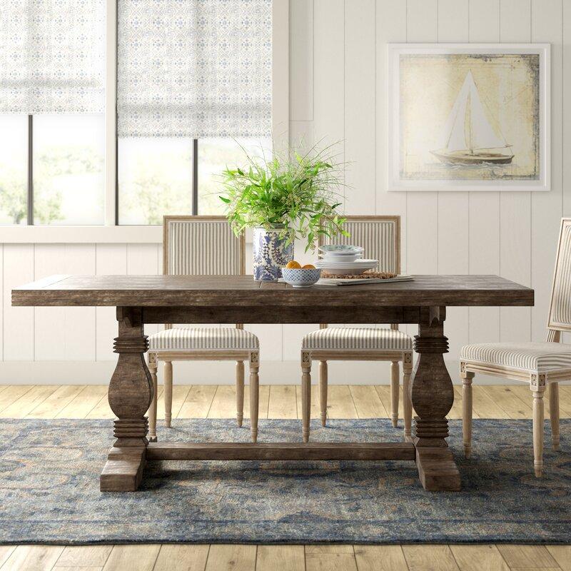 Birch Lane Kinston 38 Pine Solid Wood Trestle Dining Table Reviews Wayfair