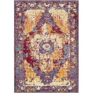 Price Check Almendarez Distressed Red/Purple Area Rug By Bungalow Rose