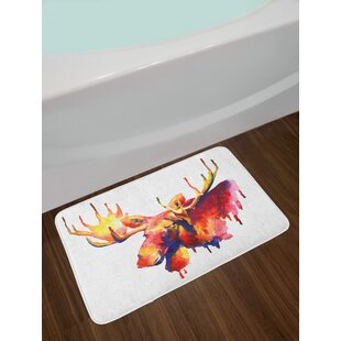 Moose Psychedelic Watercolor Paintbrush Vivid Toned Aquarelle Picture Non-Slip Plush Bath Rug