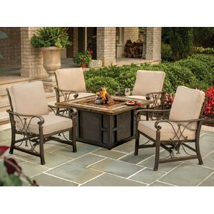 Oakland Living Goldie's Spring Rocking Deep Seating Chairs Propane Gas Fire Pit Table