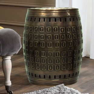 Multiple Purpose Hand Tooled Shaped 19 H x 14 W x 14 D Metal Stool by Saffron Fabs