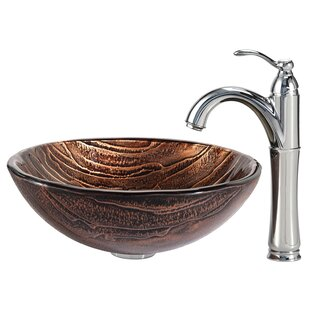 Kraus Gaia Glass Circular Vessel Bathroom Sink with Faucet