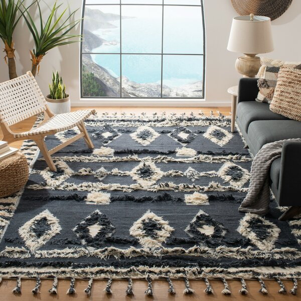 Allmodern Aten Hand Knotted Wool Cotton Charcoal Area Rug Reviews Wayfair