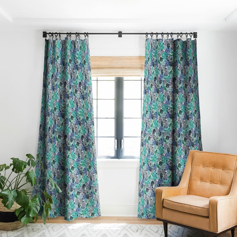 East Urban Home Ninola Tropical Jungle Leaves Floral Room Darkening Rod Pocket Single Curtain Panel Wayfair