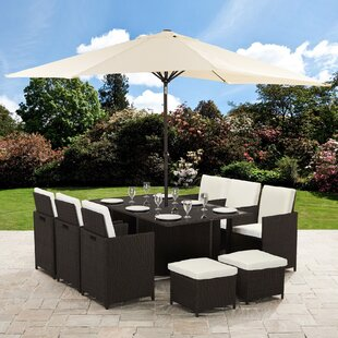 Parkton 10 Seater Dining Set With Cushions And Parasol (Set Of 12) Image