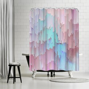Emanuela Carratoni Light Blue And Pink Glitches Shower Curtain