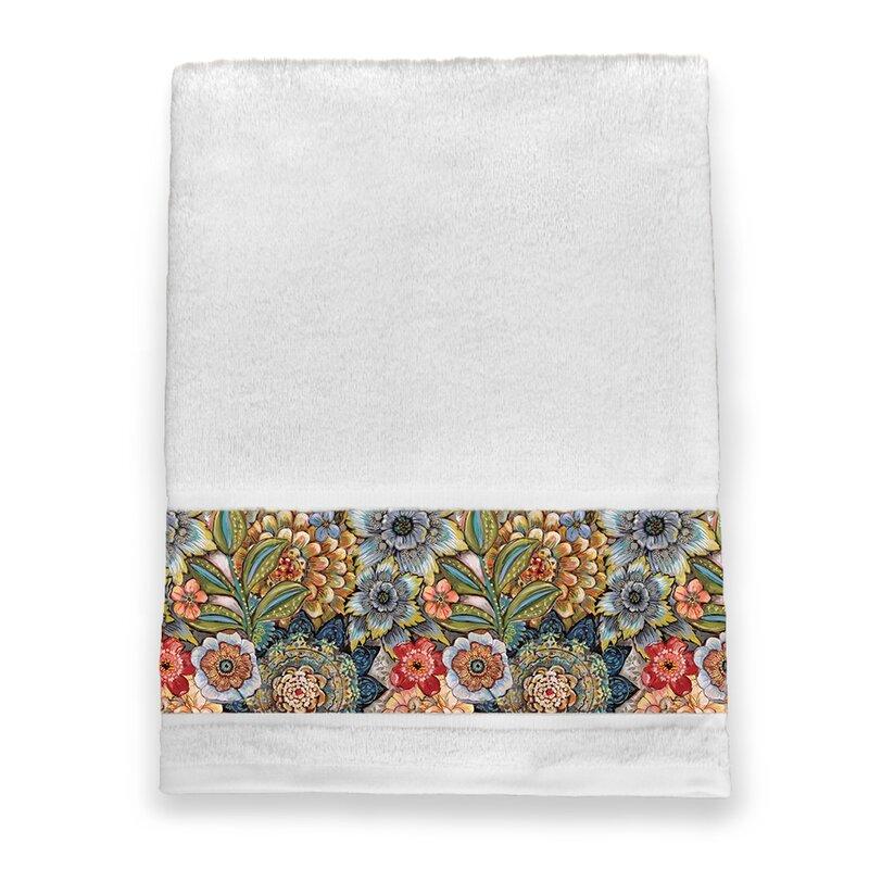 Bungalow Rose Haskell Boho Bouquet 100 Cotton Bath Towel Wayfair