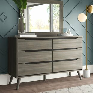 Best Deals Mason 6 Drawer Double Dresser with Mirror by Mercury Row