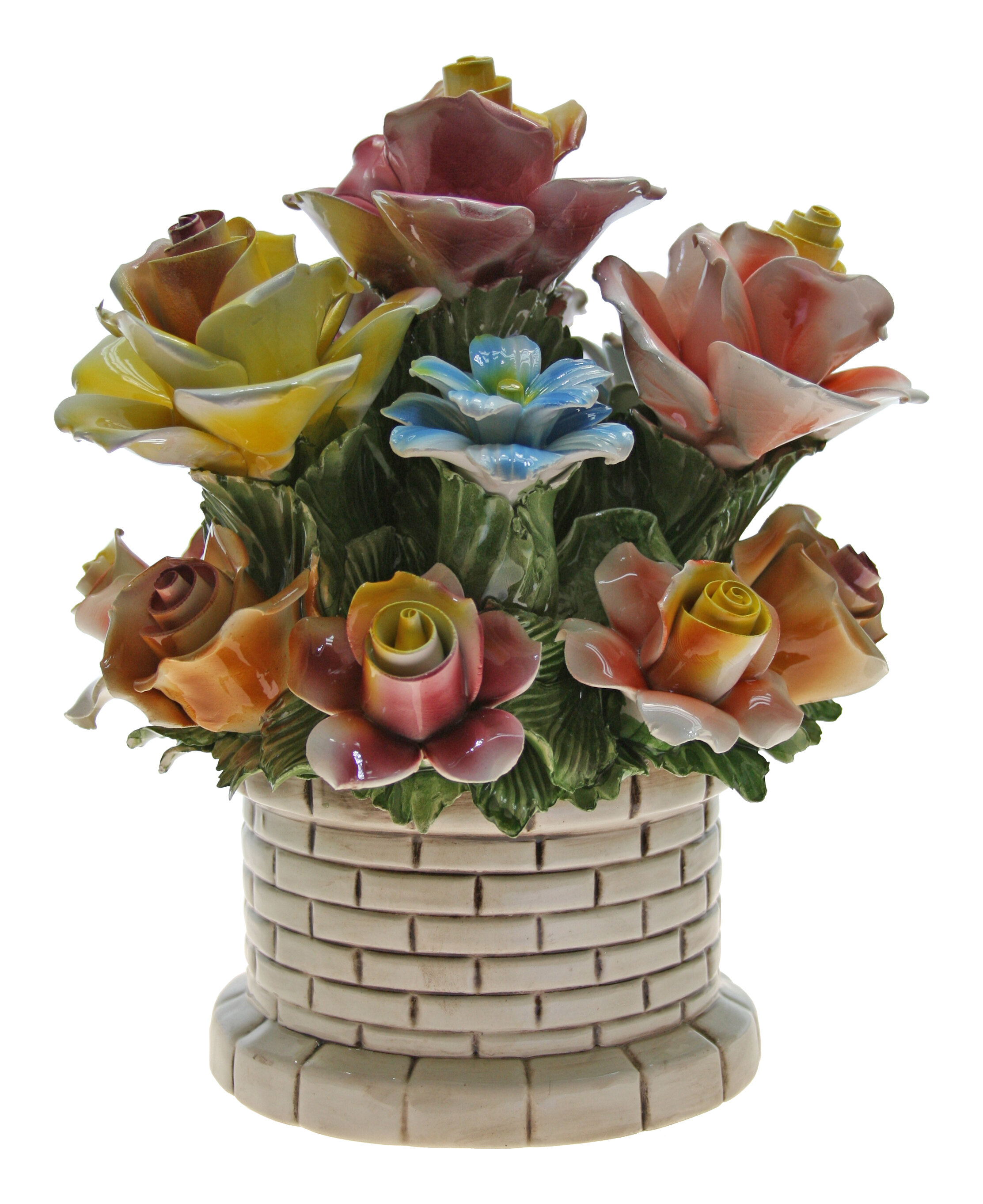 August Grove Round Brick Flower Bouquet In Pot Wayfair