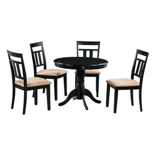 Dahlquist 5 Piece Solid Wood Dining Set August Grove