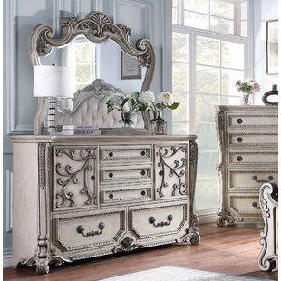 Lidio 5 Drawer Combo Dresser With Mirror by Fleur De Lis Living