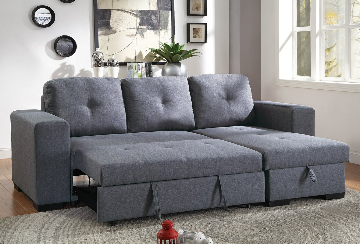 Buchman Linen-like Reversible Sectional with Pull-Out Bed and Compartment : sectional sofa with sleeper and chaise - Sectionals, Sofas & Couches