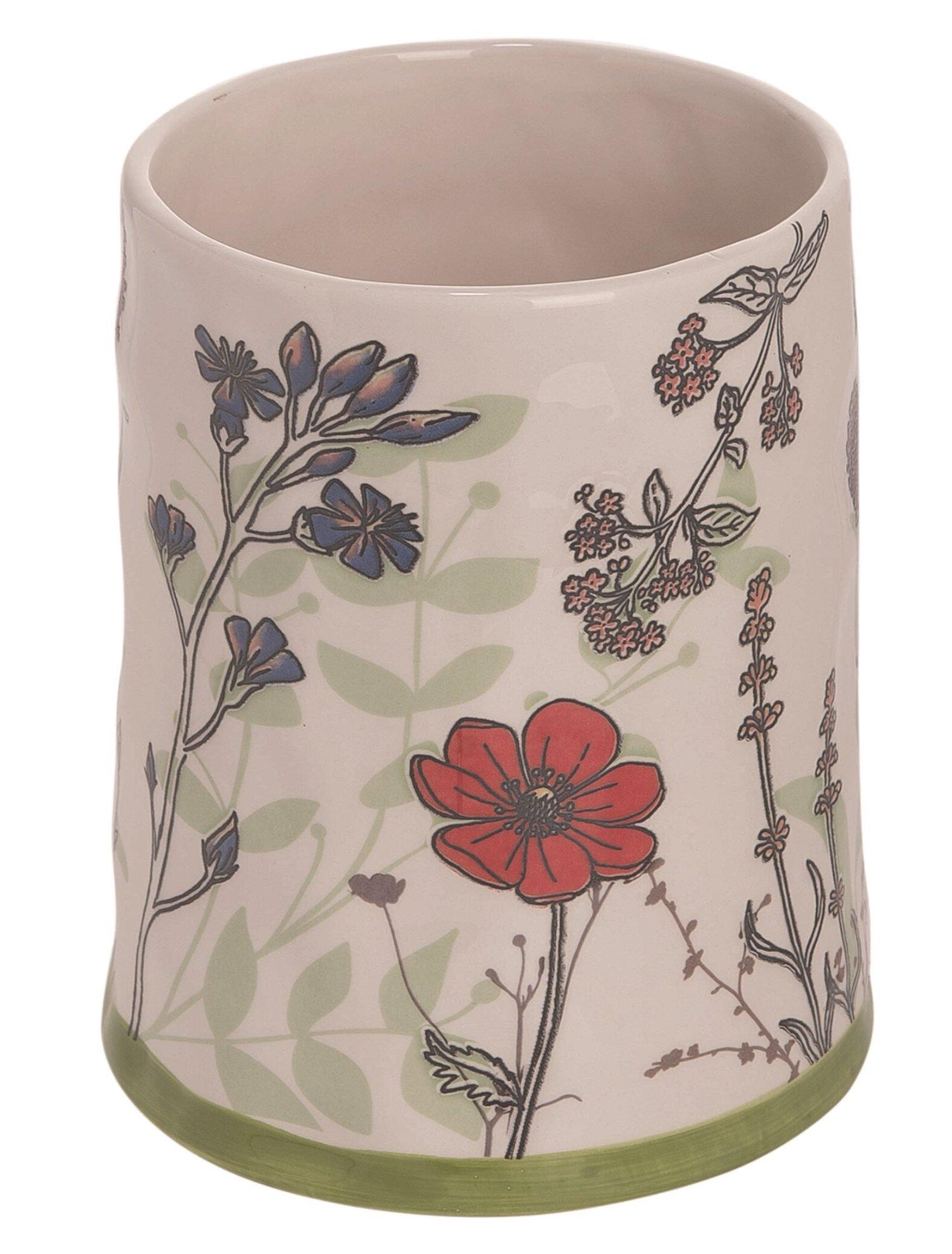 Ophelia Co Pressed Floral Print Utensil Crock Wayfair