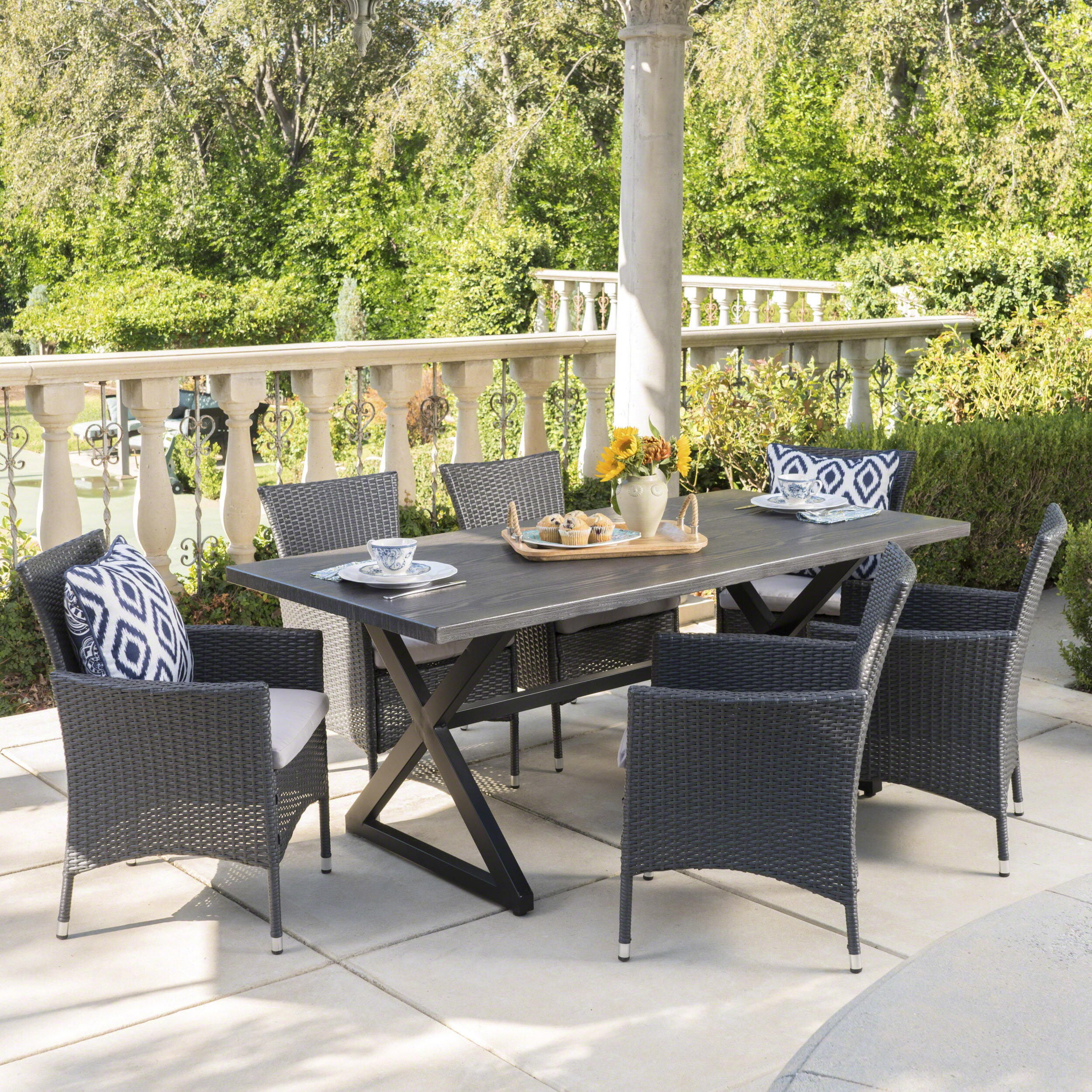 Breakwater Bay Nevis 7 Piece Dining Set With Cushions Reviews Wayfair Ca