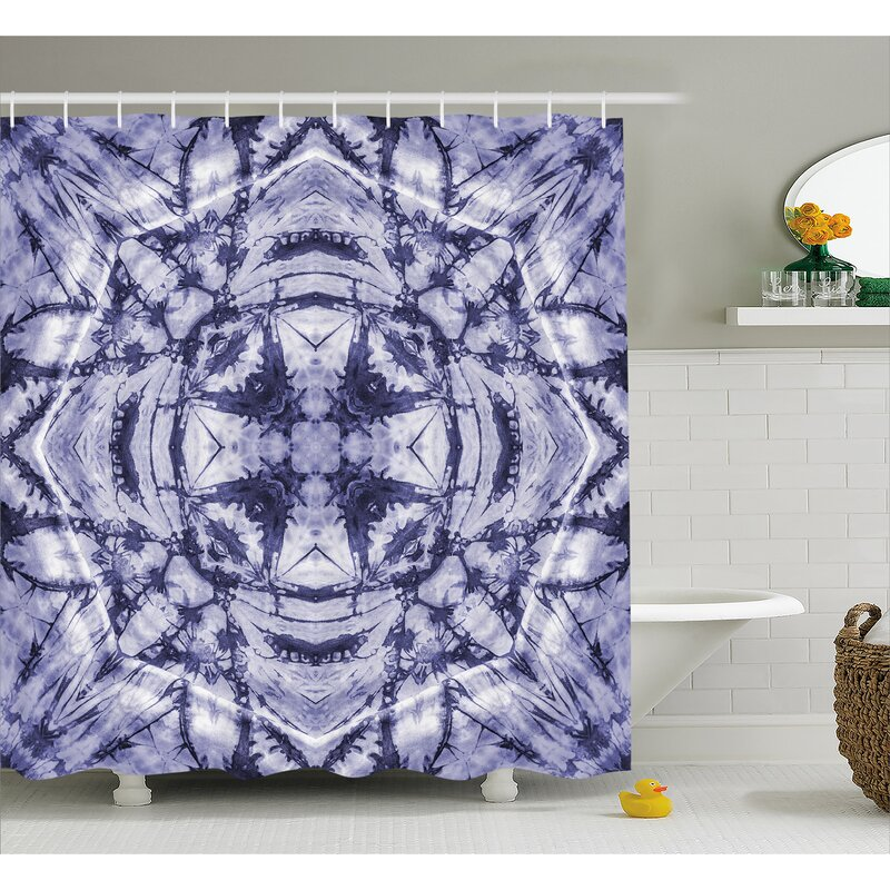 Margie Tie Dye Modern Form Generated By Resisting Twisting Fractal Saturated Effects Shower Curtain