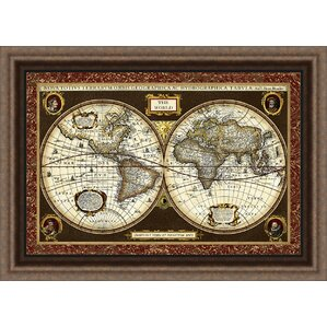 World map wall art trends decorative world map framed graphic art sciox Gallery