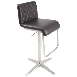 Ventanas Brushed Stainless Steel Diamond Adjustable Height Swivel Bar Stool Orren Ellis