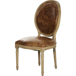 Medallion Side Chair in Leather - Brown b..