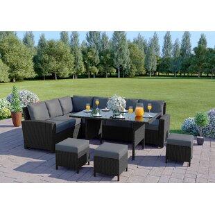 9 Seater Rattan Effect Sofa Set