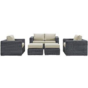 Brayden Studio Keiran 5 Piece Sunbrella Sectional Set with Cushions