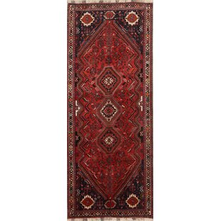 Affordable One-of-a-Kind Triplehorn Tribal Geometric Abadeh Shiraz Persian Hand-Knotted Runner 4' x 9'11 Wool Red/Beige/Black Area Rug By Isabelline
