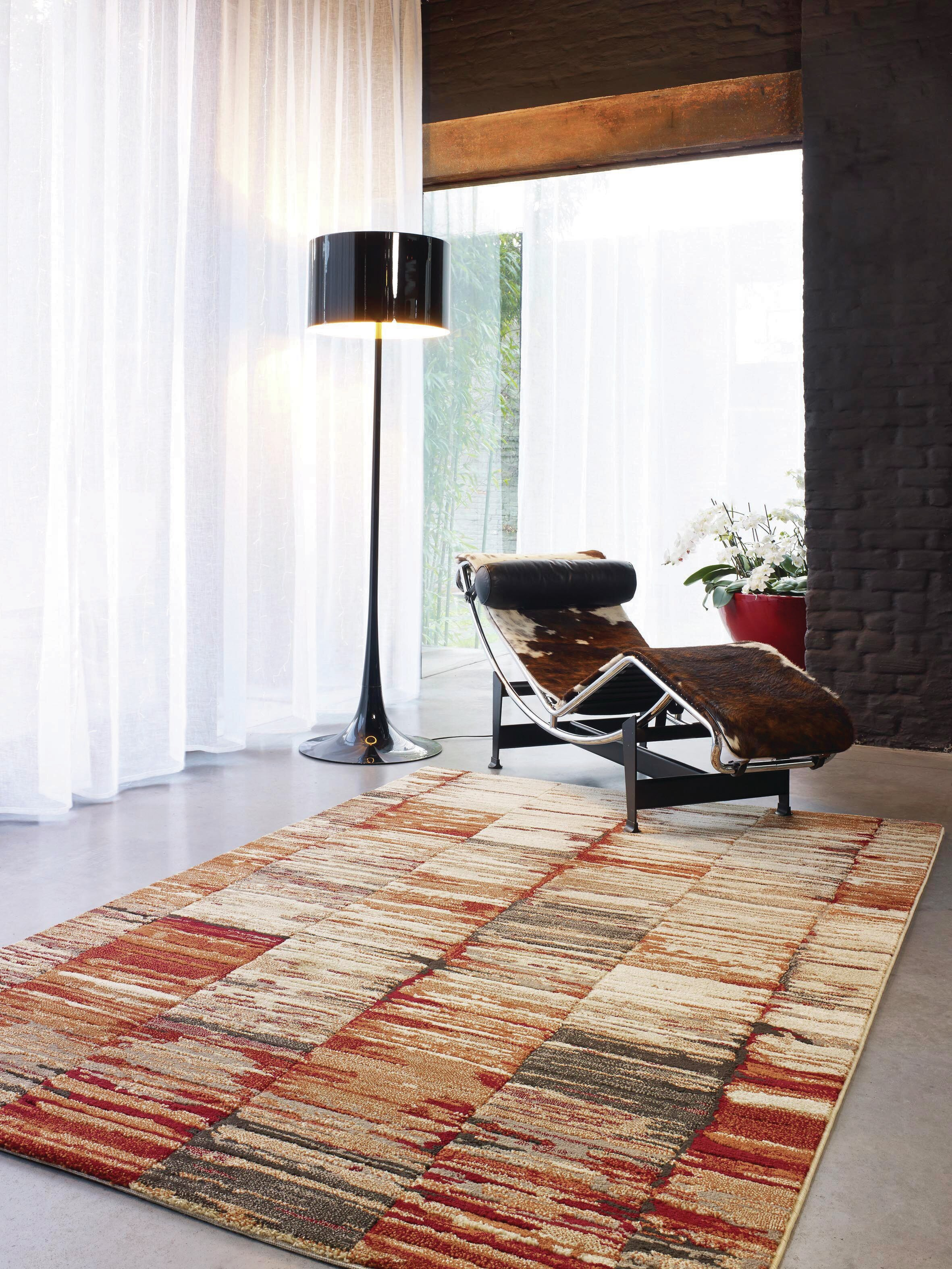Wrought Studio Ballesteros Abstract Stripes Beige/Red Area Rug ...